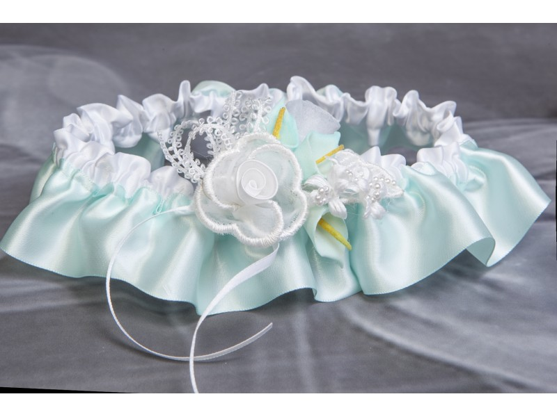 e5b128ecd Garter (aqua and white)(J507)